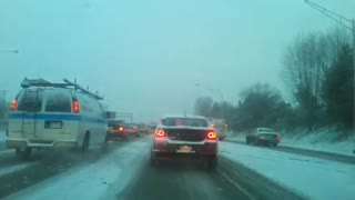 Route 8 Akron Ohio Traffic During a Snowstorm 2012