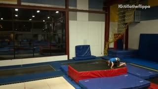 Kid on trampoline does a double backflip and lands directly on head