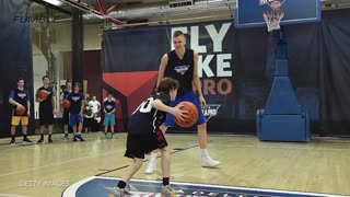 Kid Schools Knicks Rookie Kristaps Porzingis, Dabs on Him - Video