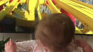 Baby rides rollercoaster