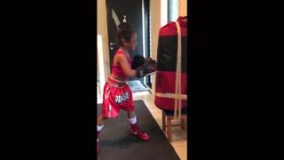 4-year-old boxing prodigy shows off some impressive skills - Video
