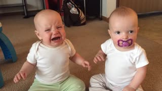 Twin Babies Take Turns With Pacifier