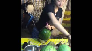 How to have very fresh and delicious drink from watermelon. - Video
