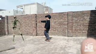 My boy is dancing with skeleton on the roof without hasitation.  - Video