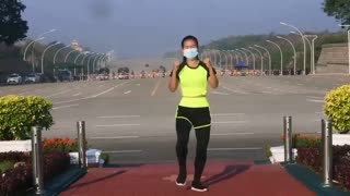 Myanmar Woman Aerobics During Military Coup in Myanmar