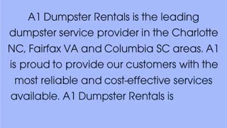 Dumpster Rental Charlotte NC - Video