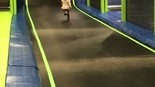 Collab copyright protection - little girl at sky zone face plants - Video