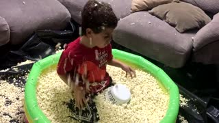 Pool of Popcorn Birthday Surprise - Video
