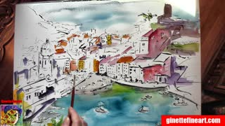 Dreaming of Vernazza Watercolor and Ink Painting