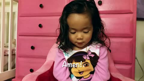 Adorable toddler Prayer prays the Lord's prayer, so sweet!