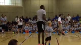 Kevin Durant jokingly blocks little kid's shot