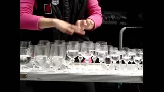 One-of-a-kind glass harp street performance in Germany