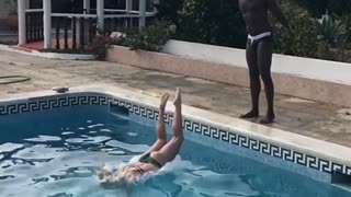Collab copyright protection - guy throws girl pool faceplant - Video