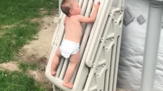 Toddler Climbs Pool Safety Ladder - Video