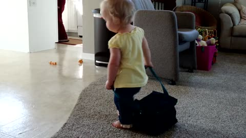 Baby Girl Takes Daddy's Lunch Bag