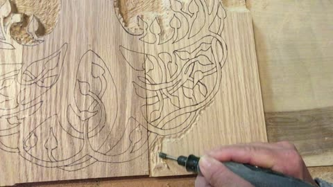 Relief Carving Oak Tree