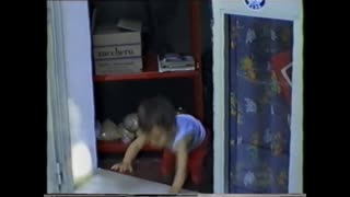 Angry toddler can't get through door