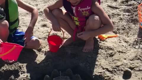 Testing the sand castle moat!
