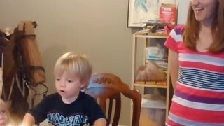 "Little Boy Thinks He Can Blow Out Candles By Saying, ""Blow!"""