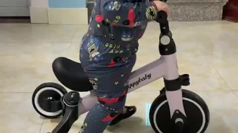 When my son learned to ride a bike - Very slowly and carefully