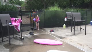 Kids First Time Pool Jumping Splash!!!