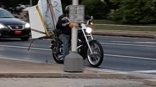 Transporting a Washing Machine with a Motorcycle