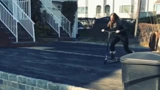 Collab copyright protection - girl black scooter wall jump fail - Video
