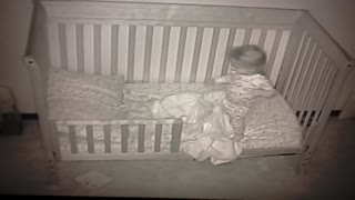 Baby Cam Documents Little Girl's First Night In Toddler Bed - Video