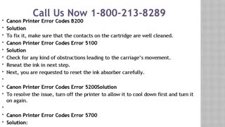 1-800-213-8289 Canon Printer Error Codes - Video