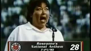 Roseanne sings the national anthem - Video