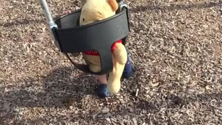 Collab copyright protection - boy plays with pooh swing hits him - Video