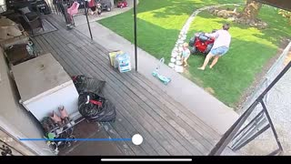 Sister Drives Toy Over Baby Brother