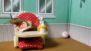 Happy snail sits in tiny highchair