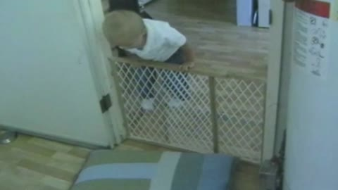 Baby Practices Pole Vaulting Skills In Incredible Gate Escape