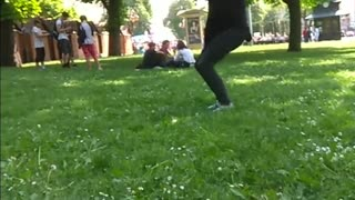 Guy black clothes back flip grass fourth time fail