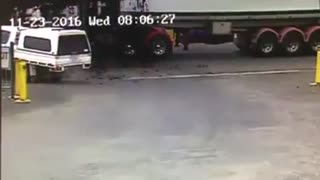 Truck Full of Sewage Spills - Video