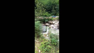 Listen to the sound of water flowing from streams