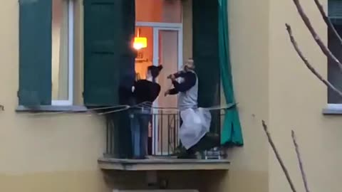 Balcony entertainment in Bologna taking ease off quarantine