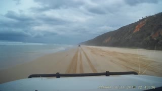 Jet Flies Over While Driving on Beach