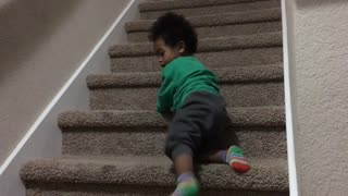 Blasian Baby Brother Climbs Down Stairs!