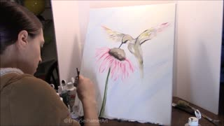 Beautiful hummingbird painting time lapse