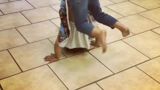 Collab copyright protection - little girl attempts front flip fail - Video