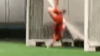 Goalie Gets Stuck In Her Own Goal - Video