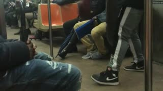 Guy does a contemporary dance on subway train