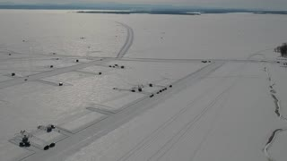 Drone flight over a frozen lake