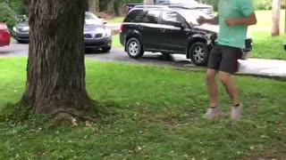 Guy blue shirt backflip swing fail