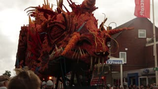 Massive dragon display made entirely of flowers