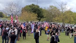 Proud Boys in Portland - Raising American Flag & National Anthem