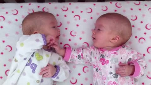 Identical Twin Babies Interact For The Very First Time