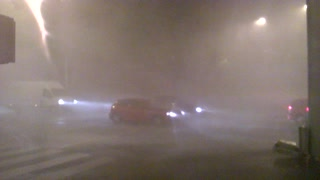 Imagine walking through this insane rain storm? - Video